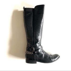 Unisa Black Riding Boots with Silver Chain Accents